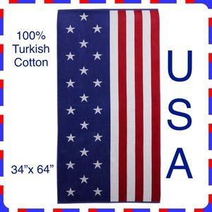 American Flag 🇺🇸 USA Beach Towel Turkish Cotton